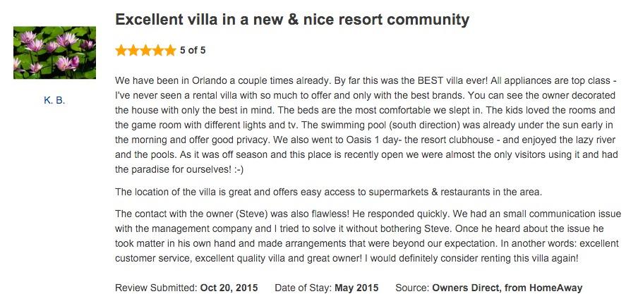 Luxury Champions Gate Villa - Testimonials & Reviews